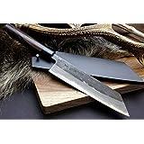 Yoshihiro Mizu Yaki Blue High Carbon Steel Kurouchi Kirituske(Sword Tip) Chef Knife Shitan Handle 8.25 IN with Nuri Saya Cover
