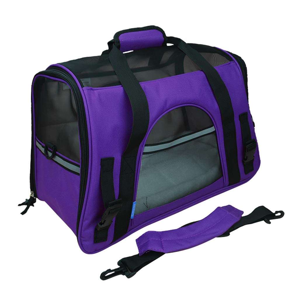 37x19x25cm Large Pet Backpack for Dogs Cats Rabbits  Mesh Portable Shoulder Bag Breathable Head Out Design Removable Plush Pad for Outdoor Travel Hiking (Purple)