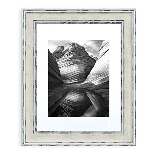 Distressed Cream - 11x14 Picture Frame Distressed Cream - Matted to 8x10, Frames by EcoHome