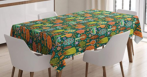 CHARMHOME Abstract Cotton Linen Tablecloth, Dining Room Kitchen Rectangular Table Cover 60(W) X90(L) inchInch, Nursery Concept Assortment of Colorful Apple and Pear Fruit Trees with Flowers