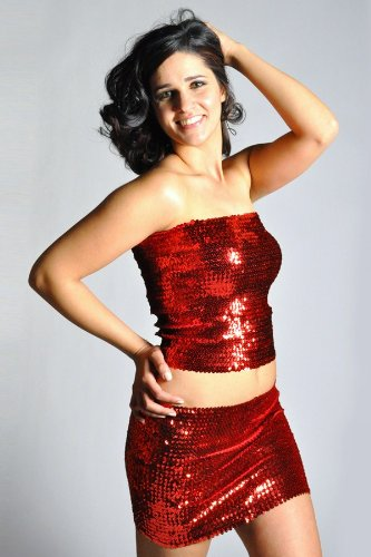 Womens Sexy Sparkly Sequin Tube Top Or Mini Skirt Red