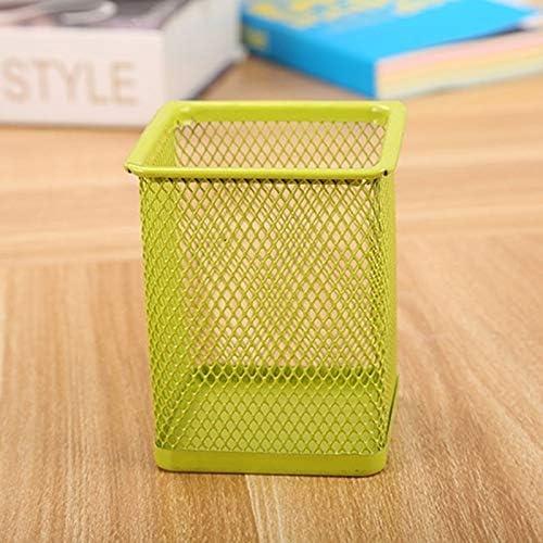 3 PCS Stiftehalter Feder-Behälter-Ineinander greifen Metall Bleistifthalter Cup,ZhangJJun (Color : Square Green)
