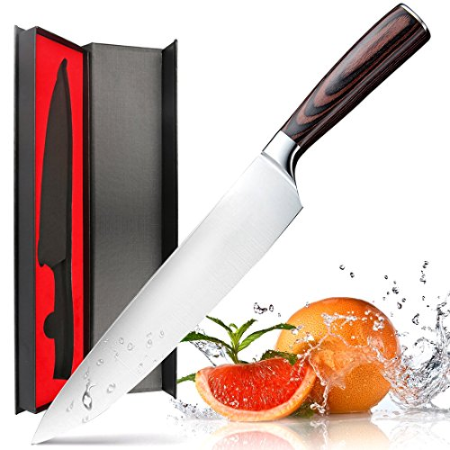 Chef Knife,Kitchen Knife 8-Inch,German High Carbon Stainless Steel,Razor Sharp Blade and Ergonomic Handle - Chefs Stainless Steel Chefs Knife