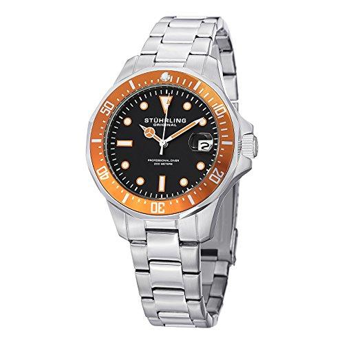 Stuhrling Original Men's 664.04 Aquadiver Quartz Date Stainless Steel Link Bracelet Diver Watch