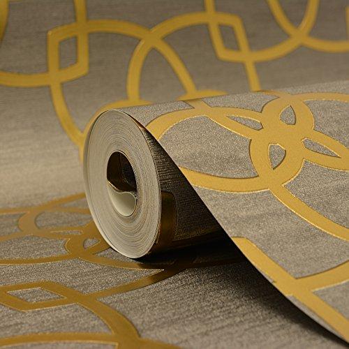 Marrakech Geometric Wallpaper Gold and Grey Muriva 601537