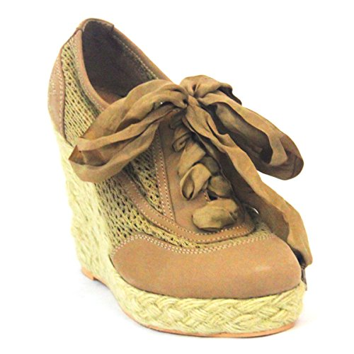 Juicy Couture cordones, plataforma Cuñas Talla 3,5 Marrón - natural