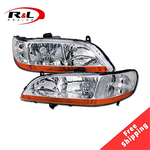 R&L Racing Chrome Headlights JDM Headlamps with Amber Parking V2 DY 1998-2002 For Honda Accord 2DR/4DR