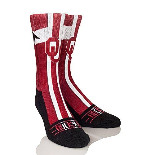 NCAA Oklahoma Sooners Jersey Series University Custom Athletic Crew Socks, Small/Medium, Crimson