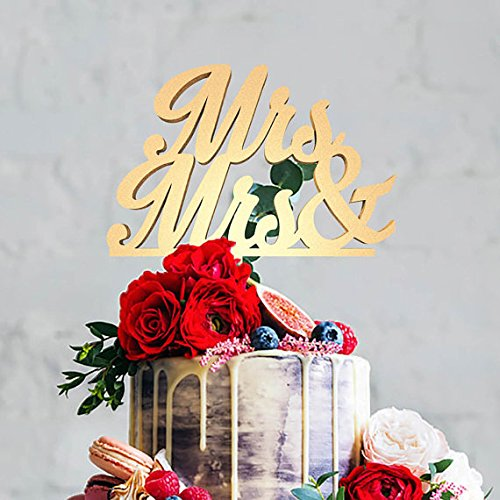 KISKISTONITE Mrs Mrs Lesbian Wedding Cake Topper, Same Sex LGBT Marriage Union,Party Cake Decorating Supplies by kiskistonite