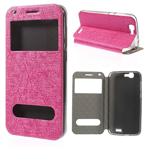 Beautiful-tech Lines Textured Dual View Windows Leather Folio Stand Case Cover for Huawei Ascend G7 - Rose