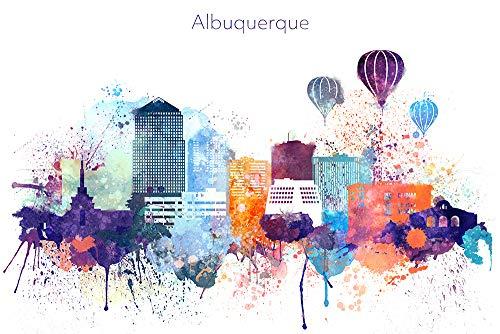 Albuquerque New Mexico Watercolor Skyline Wall Art Home Decor Poster UNFRAMED