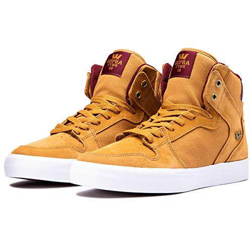 Supra Footwear - Vaider High Top Skate Shoes, Tan/Wine-White, 11 M US Women/9.5 M US Men