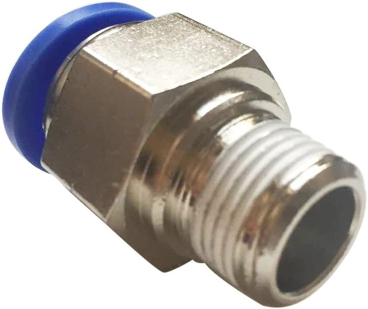 Metalwork Push to Connect Fitting Adapter 12mm OD x 3//8 NPT Male Straight Connector Plastic /& Nickel Plated Brass Pack of 2