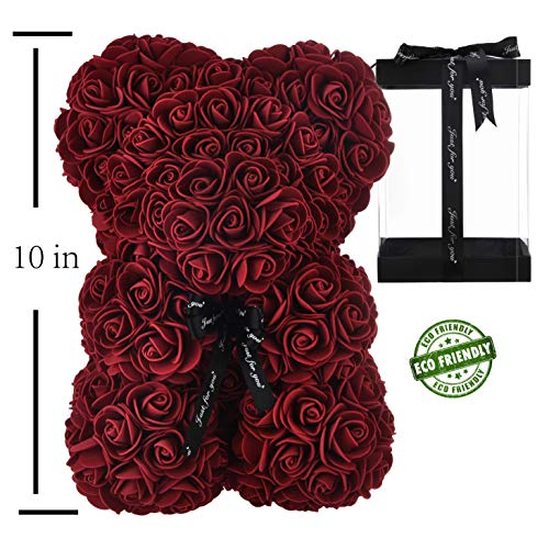 Rose Bear Hand Made Teddy Bear Rose Bear Rose Teddy Bear - Gift for Mothers Day, Valentines Day, Anniversary & Bridal Showers Weddings Clear Gift Box 10 inch (Burgundy)