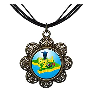 Chicforest Bronze Retro Style Brasil 2014 FIFA World Cup Sun Flower Pendant