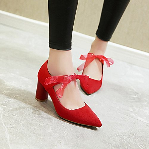 Charm Foot Womens Pointed Toe Lace Chunky High Heel Pumps Shoes Red CBHrOVJ