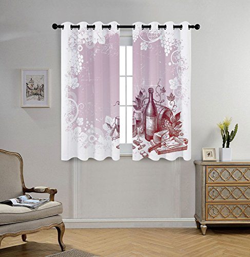 Grape Leaf Wine - Stylish Window Curtains,Wine,Grunge Abstract Frame Bunch of Grapes Leaves Country Drinks Food Picnic Concept Decorative,Lilac and White,2 Panel Set Window Drapes,for Living Room Bedroom Kitchen Cafe