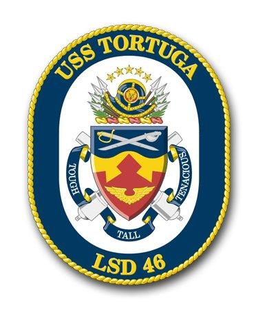 (Magnet US Navy USS Tortuga LSD-46 Military Veteran Served Vinyl Magnet Car Fridge Locker Metal Decal 3.8