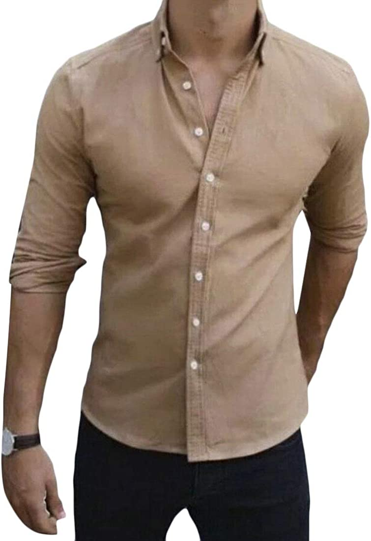 HTOOHTOOH Mens Fashion Slim Long Sleeve Solid Button Front Shirts