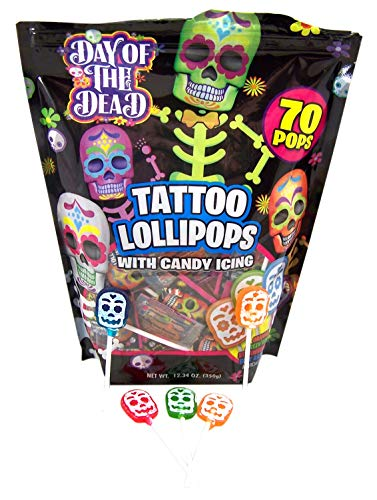 Halloween Day of the Dead Skull Icing Tattoo Lollipops, Bag of 70