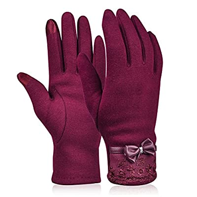 Vbiger Womens Winter Gloves Touch Screen Gloves Thick Warm Windproof Mittens