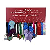 Race bib and Medal Display - Every Race is an Opportunity - Motivational Running Saying on a Wall Medal Display Rack - Medal Holder with Hooks - Running Gift - Running Gear - Running Accessory