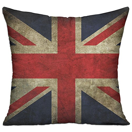 CY STORE British UK Flag Retro Square Cotton Linen Sofa Cushion Covers Decorative Home Zippered Custom Throw Pillow 18 X 18 Inch(contain Pillow Core) (Uk Covers Furniture Square Patio)