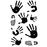Set of 3 Stylish Black Palms&Shoes Prints Body Tattoo Stickers for Men&Women