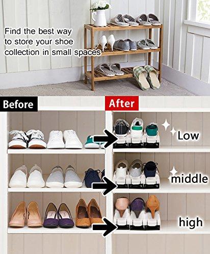 10er Set Schuh Slots Verstellbare Schuheorganizer für Schrank Schuhstapler Schuhkollektor Schuh Stapler, Plastik Doppel Schicht Space Saver Ablagegestelle Halter Mehrfarbig