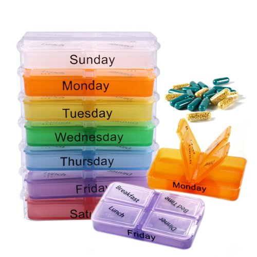 Pm Blue Handbag (thitiwat Pill Tower Stackable Organizer 7 Day, AM PM Medicine Box. Large Easy Open Weekly Prescription Medication Dispenser. Four Compartment Daily with Pill Cutter)