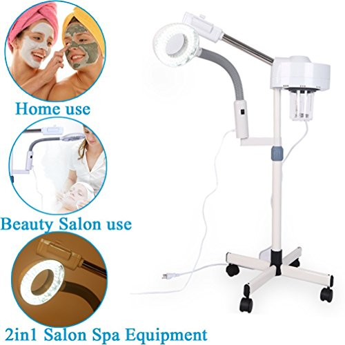 Facial Steamers,LED Magnifying Lamp Skincare Equipment Facial Multifunction Spa 2in1 Professional LED 3X/5X Magnifying Floor Lamp Machine for Salon (5X) from Zerone