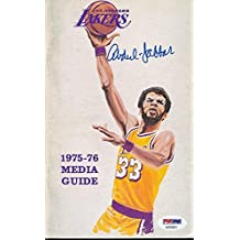 Kareem Abdul-Jabbar Signed 1975-76 Lakers Media Guide Auto AB76401 - PSA/DNA Certified - NBA Autographed Miscellaneous Items