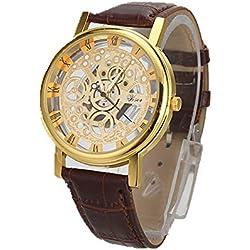 Han Shi Luxury Watch, Men Fashion Quartz Wristwatch Military Sport Leather Band Dial Clock (Large, G)