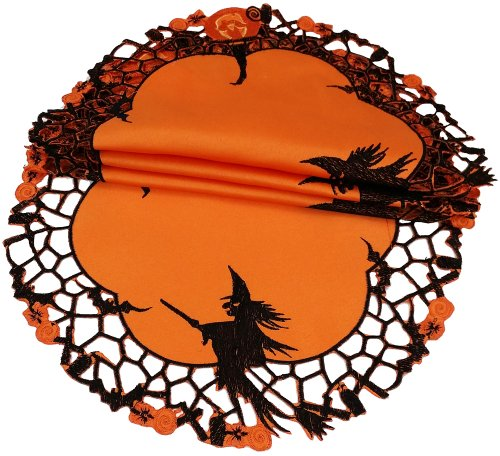 Xia Home Fashions Witch Embroidered Cutwork Halloween Doilies, 8
