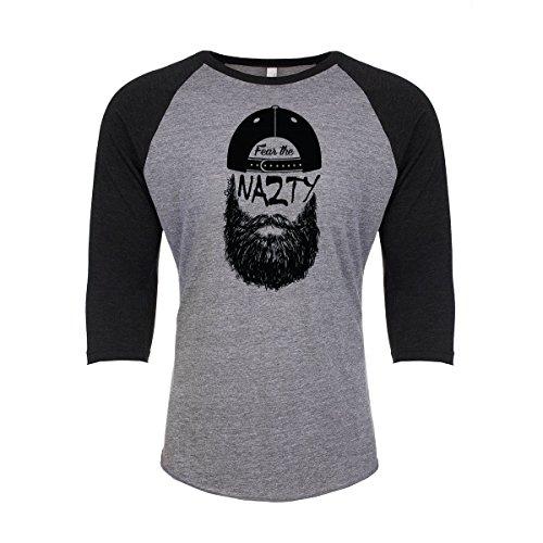 Fanbuild Fear The Chuck Nazty Unisex Triblend 3/4 Sleeve T-Shirt (Large, Black)