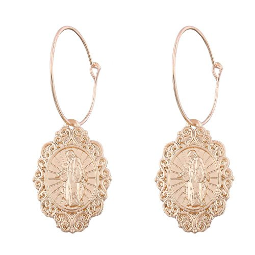 AOCHEE Religious Jesus Virgin Mary Portrait Hoop Earrings Golden Ethnic Cross Statement Earrings