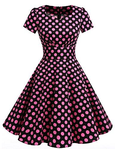 Dresstells Donne 1950 Audrey Hepbun Vintage cocktail vestito maniche corte Black Big Pink Dot