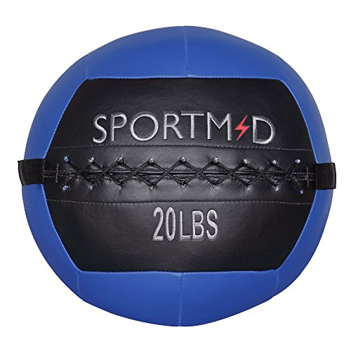Sportmad Medicine Ball Wall Ball Soft Exercise Ball Heavy Duty Strength and Conditioning Cardio Workouts Core Training Muscle Building Balance 20 LBS (Blue)