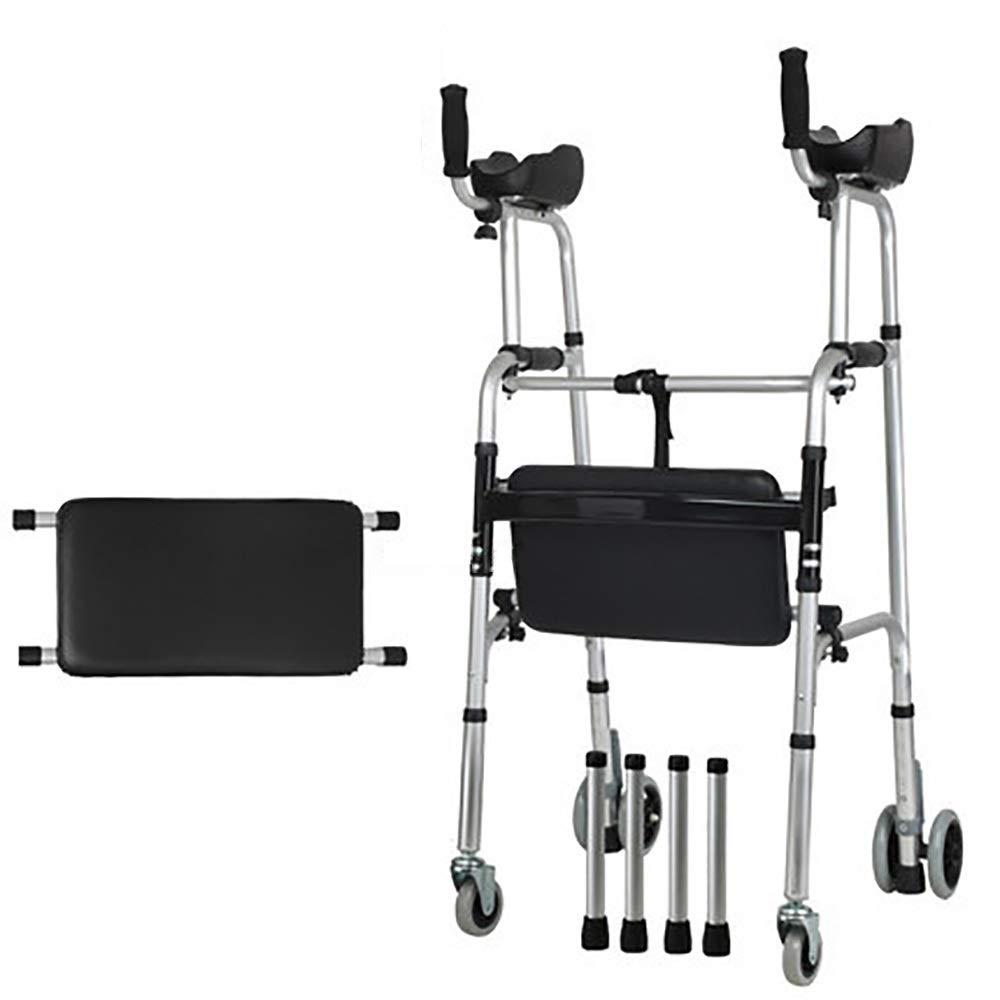 Aluminum Folding Portable Multi-Function Elderly Walker, Adjustable 7 Positions, armrest pad, Bath Board and 4 Wheels (Size : 4 Wheel+Bath Board)