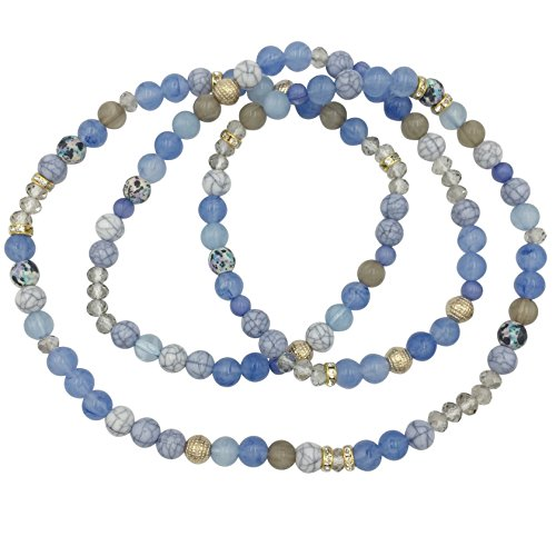 Gypsy Jewels Beaded Stretch Wrap Bracelet or Necklace - Assorted Colors (Light Blue)