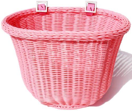 Colorbasket 01310 Adult Front Handlebar Bike Basket, All Weather, Water Resistant, Adjustable Leather Straps, Food-Contact Safe, Pink (Bicycle Basket Pink)
