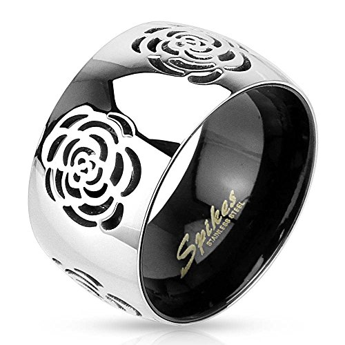 Jinique STR-0010 Stainless Steel Two Tone Black IP Grooved Rose Band Ring; Comes Box