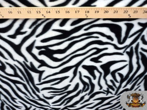 - Fleece Fabric Printed Animal Print *B&w Zebra* Fabric By the Yard