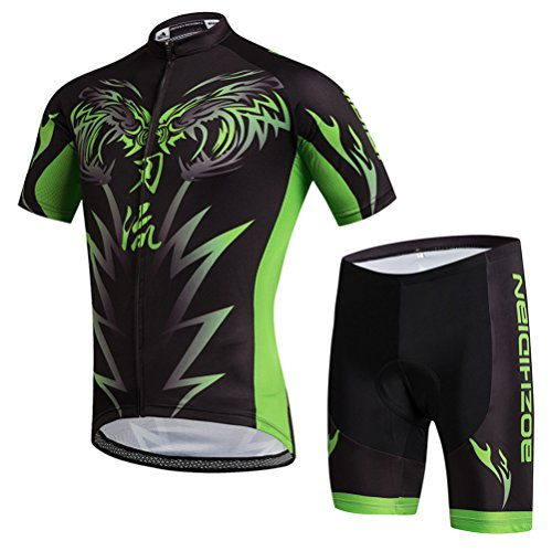 Uriah Men's Cycling Jersey and Shorts Sets Short Sleeve Wolf Green Size S(CN) (Cycling Men Shorts Wolf)
