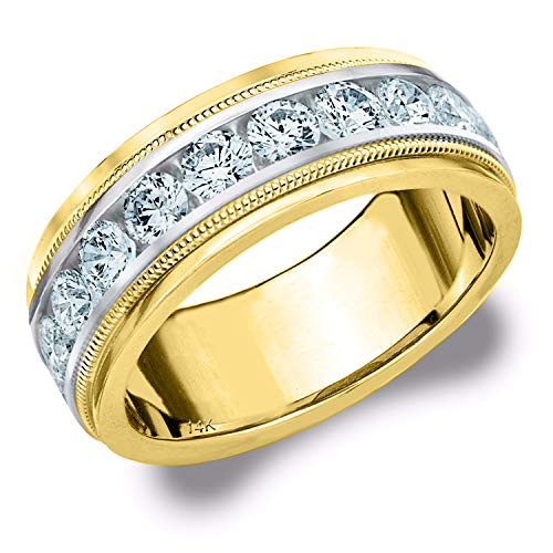 2CT Heritage Men's Diamond Ring in 14K Two Tone Gold, 2.0 cttw Wedding Anniversary Ring for Men (H-I Color, I1-I2 Clarity) - Finger Size 8 (Tiffany Tone Ring Two)