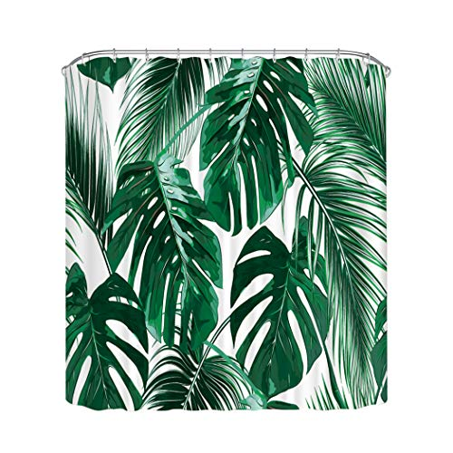 Home Queen Tropic Plant Painting Shower Curtains, Watercolor