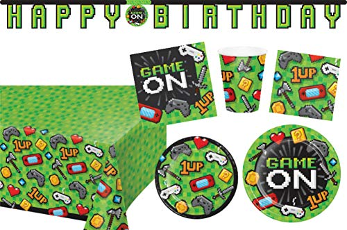 Video Game Party Supplies Tableware and Decorations Kit: Bundle Includes Plates, Napkins, and Cups for 16 People Plus a Banner and Table Cover! ()