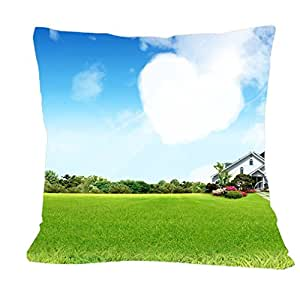 CCTUSGSH Fresh Style Pattern Grass And Beautiful House Cotton Throw Pillow Case Cushion Cover 18 X 18 Inches One Side