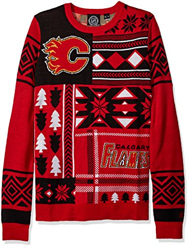 Nhl Calgary Flames Patches Ugly Sweater Red Large