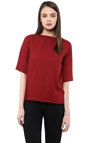 Miss Chase Women's Half  Sleeve Round Neck Solid Top Tops